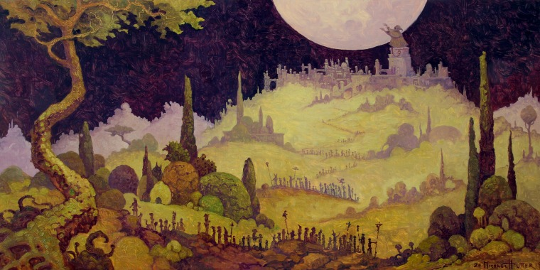 a landscape, in the background a cyclop chanting at the moon