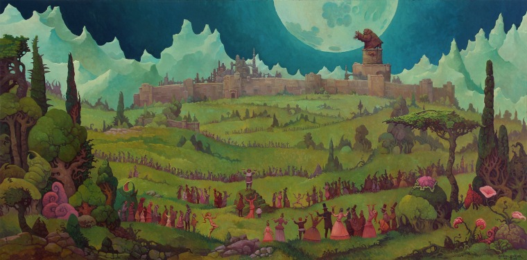 A wide landscape, in the background a cyclop, chained to a tower, chanting at the moon