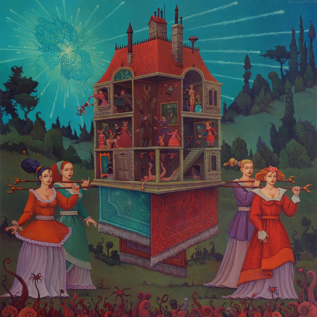 4 women, carrying a huge doll house in an apocalyptic landscape