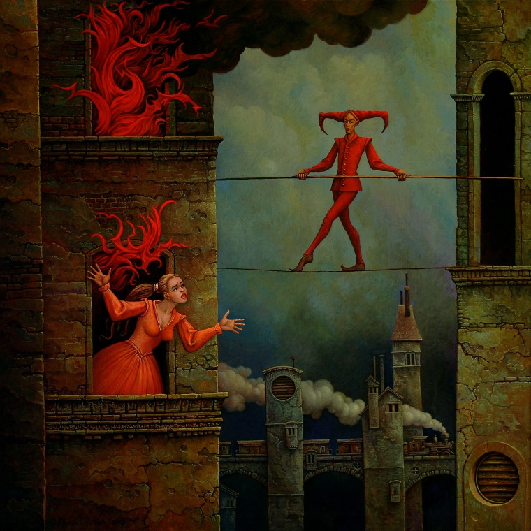 a woman in a burning house crying for help, a red dressed artist on a high wire