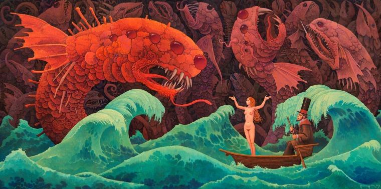 heavy sea, demonic fishes, a nude girl and a wierd old man....