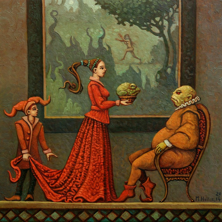 a froglike man is presented with a frog in a mug by a red dressed lady