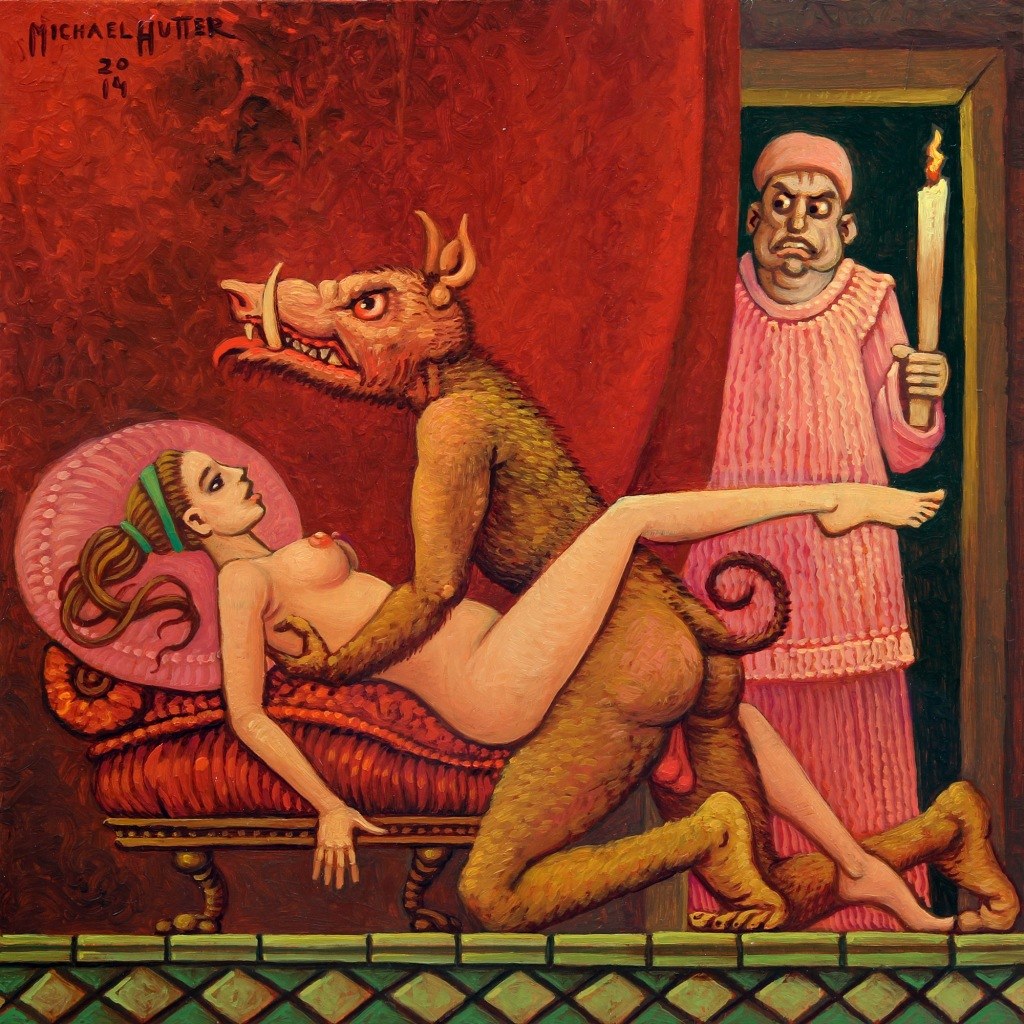 a woman making love with an animal